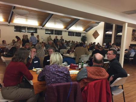Nearly a full house in the Parish Hall at St John's Episcopal Church